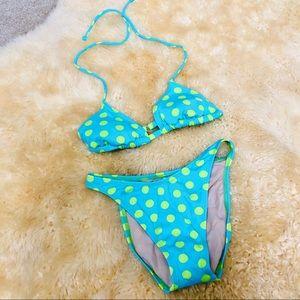 Blue green polka dot dotted string bikini swimsuit